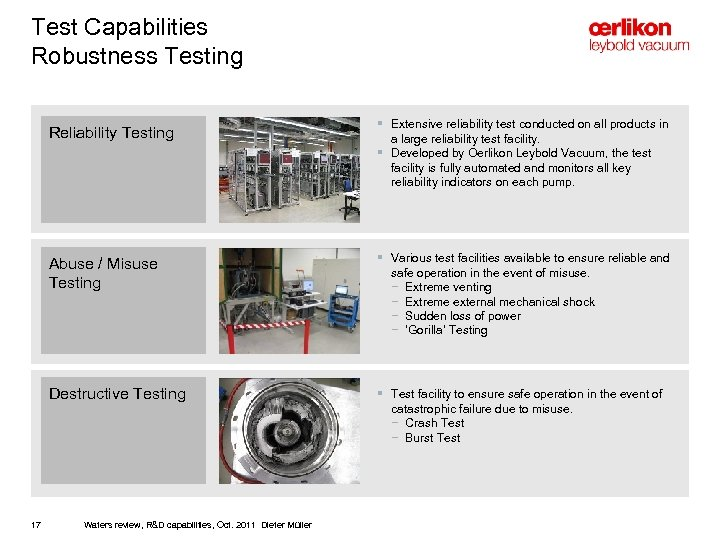 Test Capabilities Robustness Testing Reliability Testing § Extensive reliability test conducted on all products