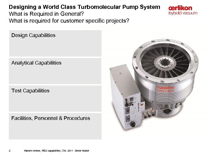 Designing a World Class Turbomolecular Pump System What is Required in General? What is