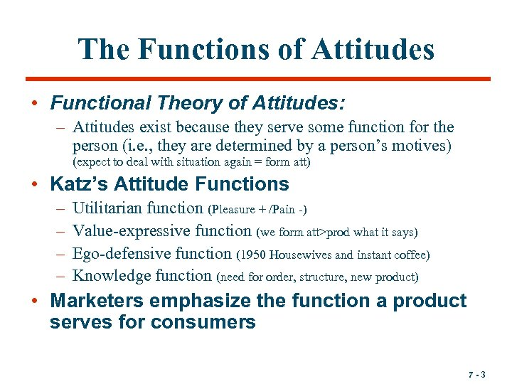 The Functions of Attitudes • Functional Theory of Attitudes: – Attitudes exist because they