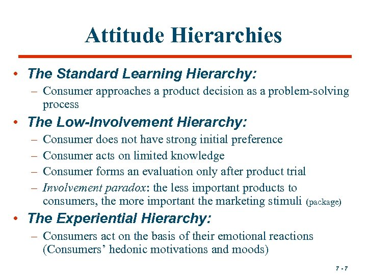Attitude Hierarchies • The Standard Learning Hierarchy: – Consumer approaches a product decision as