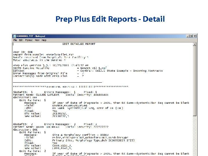 Prep Plus Edit Reports - Detail