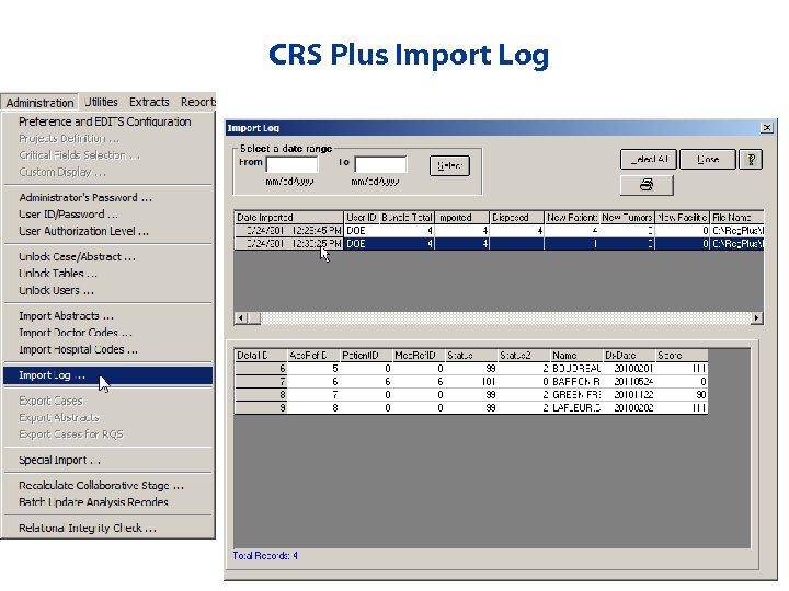 CRS Plus Import Log