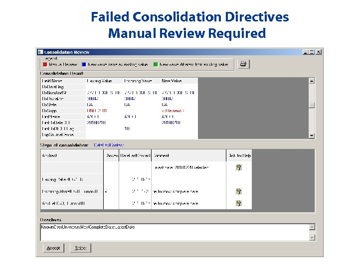 Failed Consolidation Directives Manual Review Required