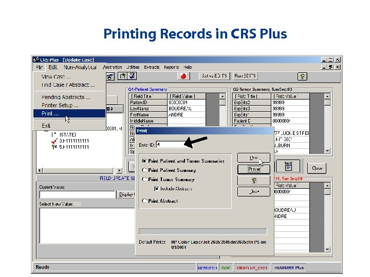 Printing Records in CRS Plus