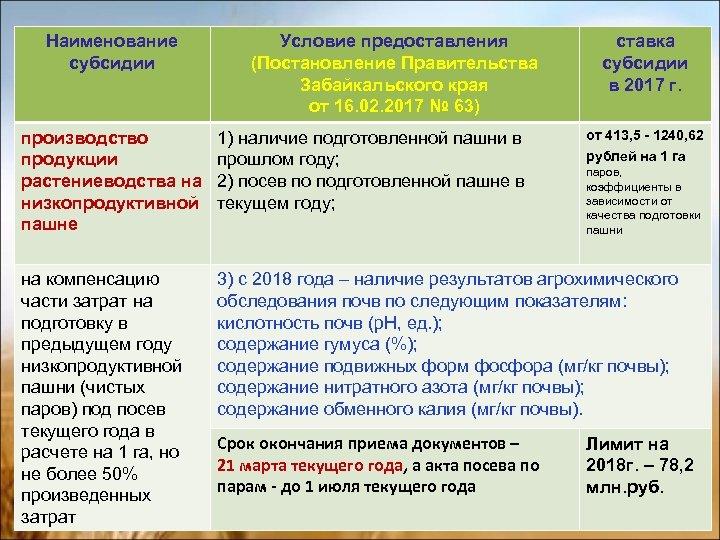 Наименование субсидии Условие предоставления (Постановление Правительства Забайкальского края от 16. 02. 2017 № 63)