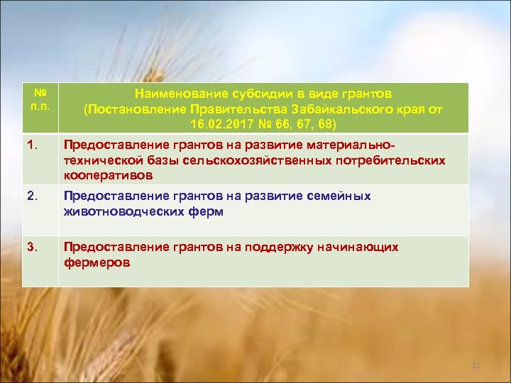 № п. п. Наименование субсидии в виде грантов (Постановление Правительства Забайкальского края от 16.