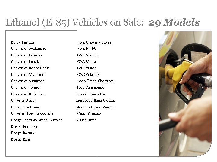 Ethanol (E-85) Vehicles on Sale: 29 Models Buick Terraza Ford Crown Victoria Chevrolet Avalanche
