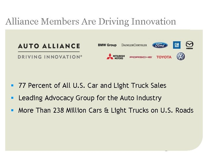 Alliance Members Are Driving Innovation § 77 Percent of All U. S. Car and