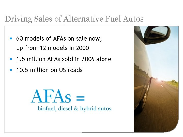 Driving Sales of Alternative Fuel Autos § 60 models of AFAs on sale now,