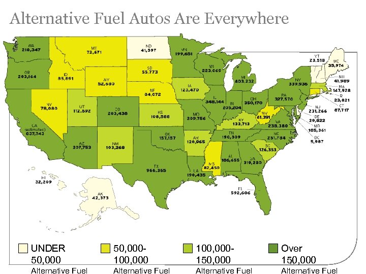 Alternative Fuel Autos Are Everywhere UNDER 50, 000100, 000150, 000 Alternative Fuel Over 150,