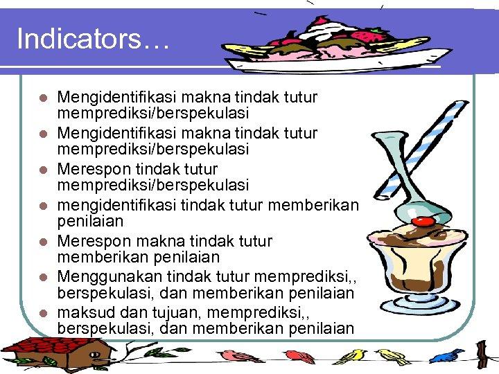 Indicators… l l l l Mengidentifikasi makna tindak tutur memprediksi/berspekulasi Merespon tindak tutur memprediksi/berspekulasi