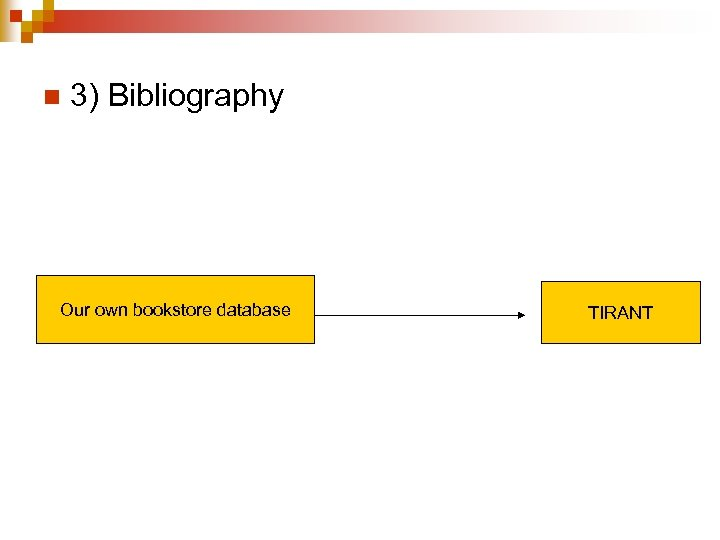 n 3) Bibliography Our own bookstore database TIRANT