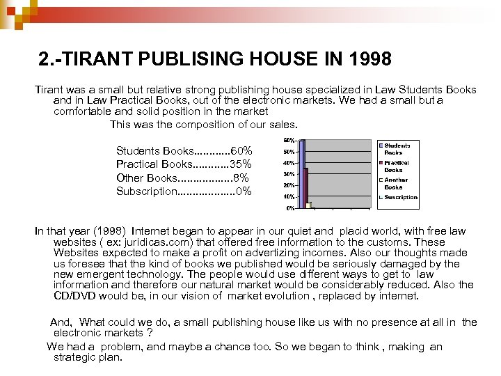 2. -TIRANT PUBLISING HOUSE IN 1998 Tirant was a small but relative strong publishing