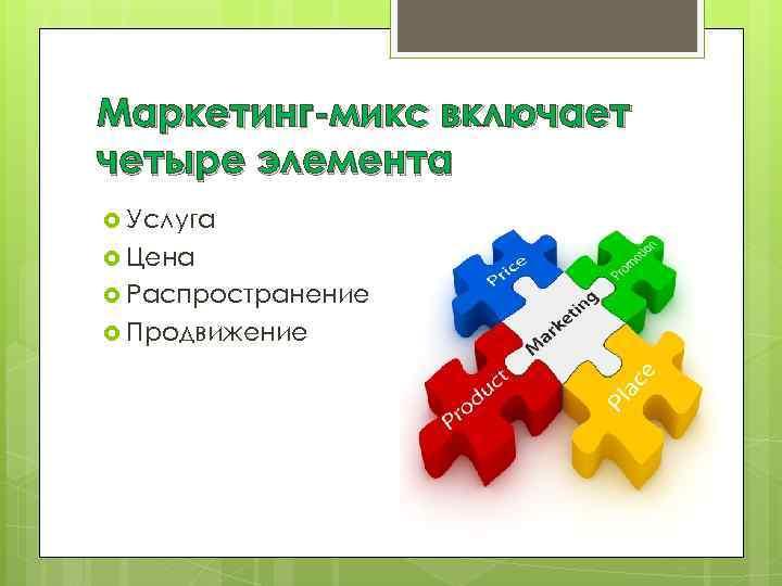Маркетинг-микс включает четыре элемента Услуга Цена Распространение Продвижение