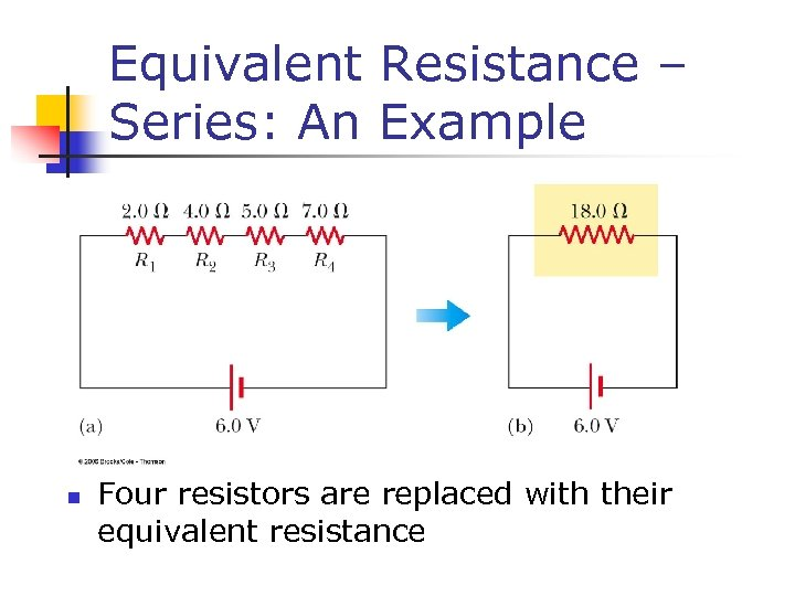 Equivalent Resistance – Series: An Example n Four resistors are replaced with their equivalent