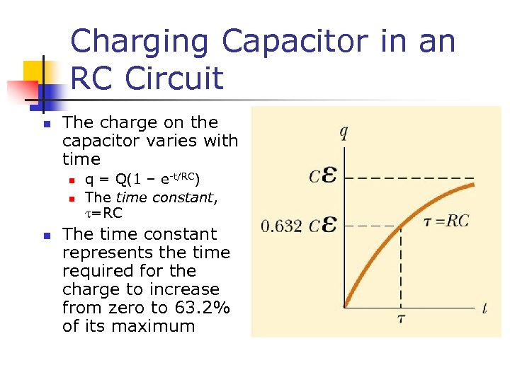Charging Capacitor in an RC Circuit n The charge on the capacitor varies with
