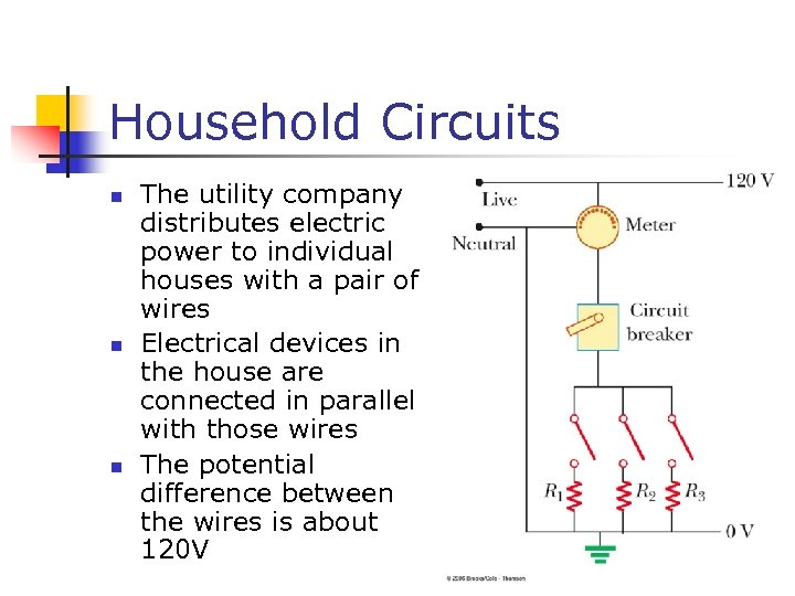 Household Circuits n n n The utility company distributes electric power to individual houses