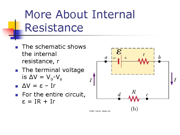 More About Internal Resistance n n The schematic shows the internal resistance, r The