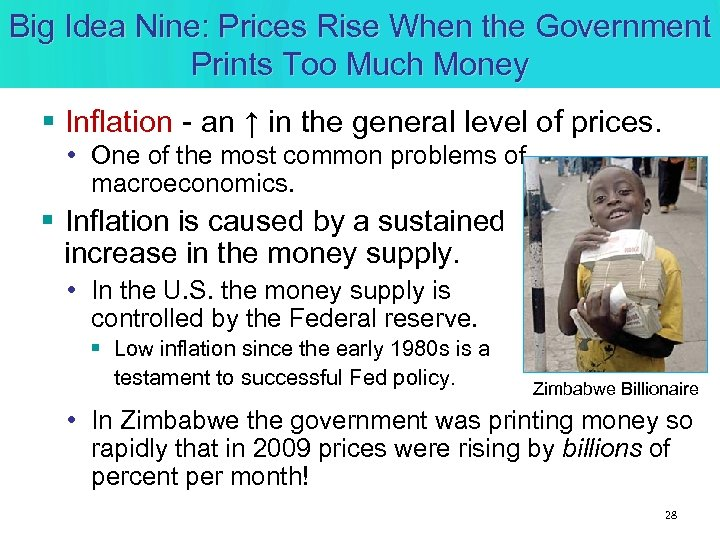Big Idea Nine: Prices Rise When the Government Prints Too Much Money § Inflation
