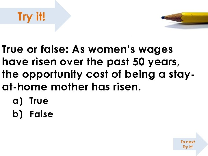 Try it! True or false: As women's wages have risen over the past 50