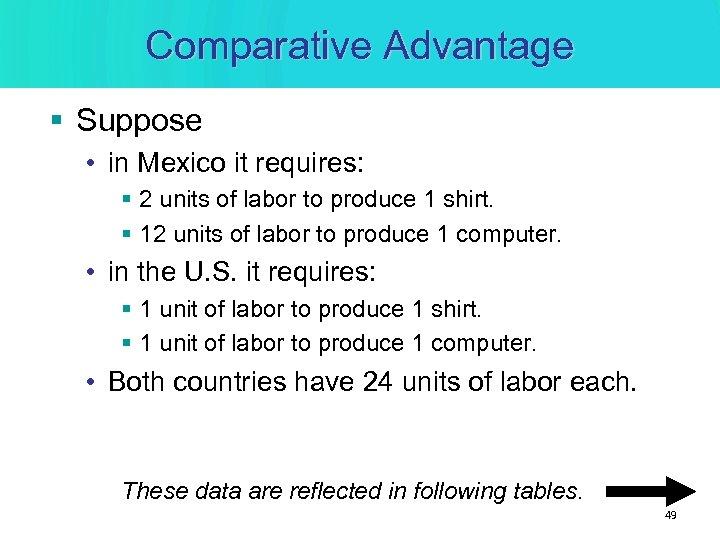 Comparative Advantage § Suppose • in Mexico it requires: § 2 units of labor