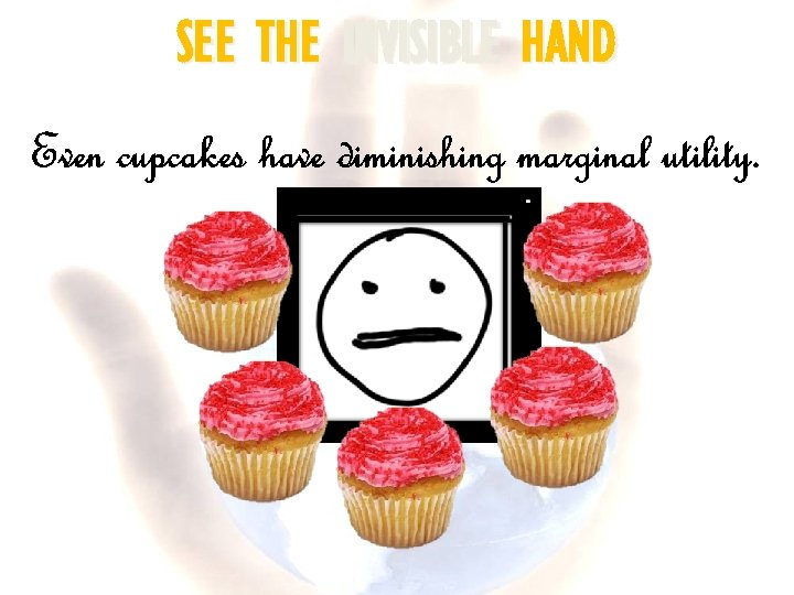 SEE THE INVISIBLE HAND Even cupcakes have diminishing marginal utility.