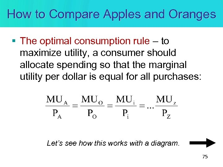 How to Compare Apples and Oranges § The optimal consumption rule – to maximize