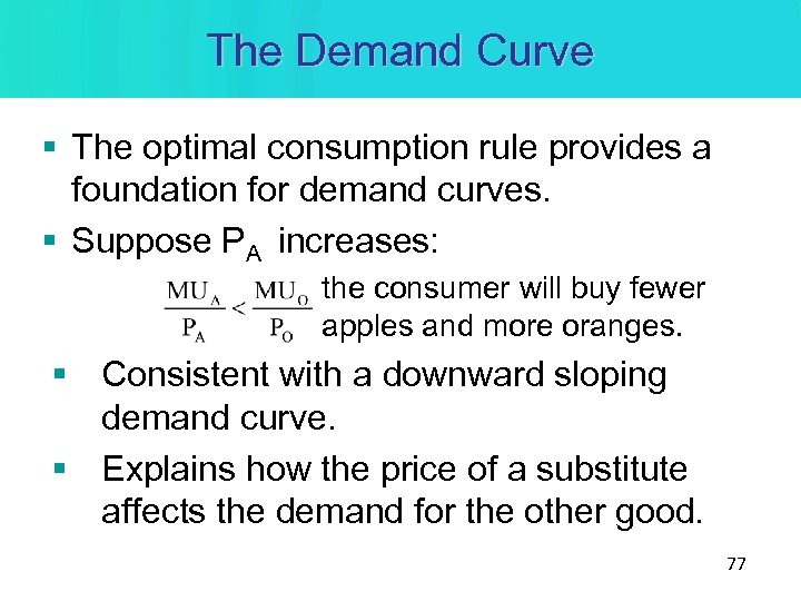 The Demand Curve § The optimal consumption rule provides a foundation for demand curves.