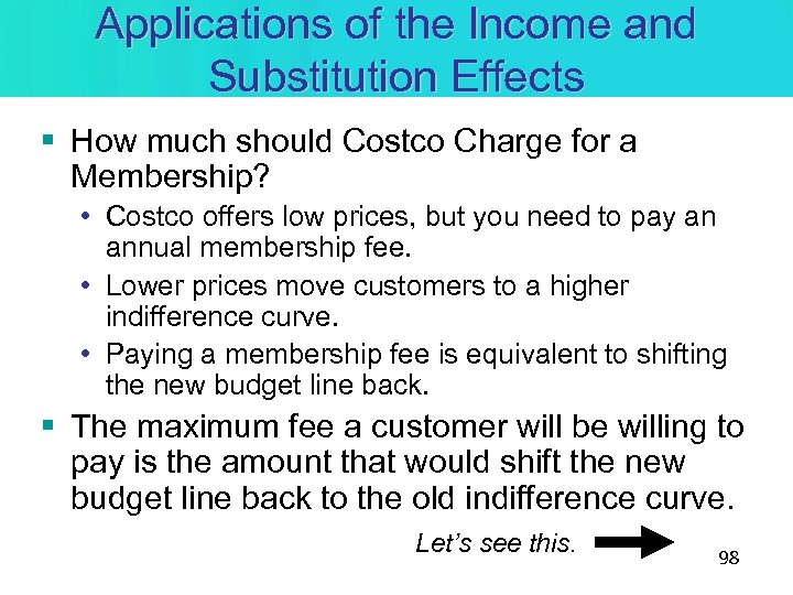 Applications of the Income and Substitution Effects § How much should Costco Charge for