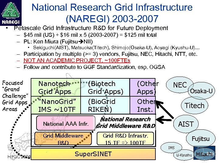 National Research Grid Infrastructure (NAREGI) 2003 -2007 • Petascale Grid Infrastructure R&D for Future