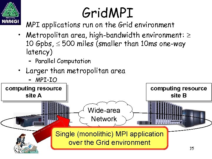 Grid. MPI • MPI applications run on the Grid environment • Metropolitan area, high-bandwidth