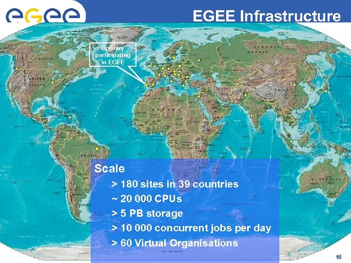 EGEE Infrastructure Enabling Grids for E-scienc. E Country participating in EGEE Scale > 180