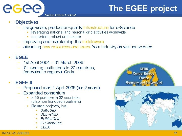 The EGEE project Enabling Grids for E-scienc. E • Objectives – Large-scale, production-quality infrastructure