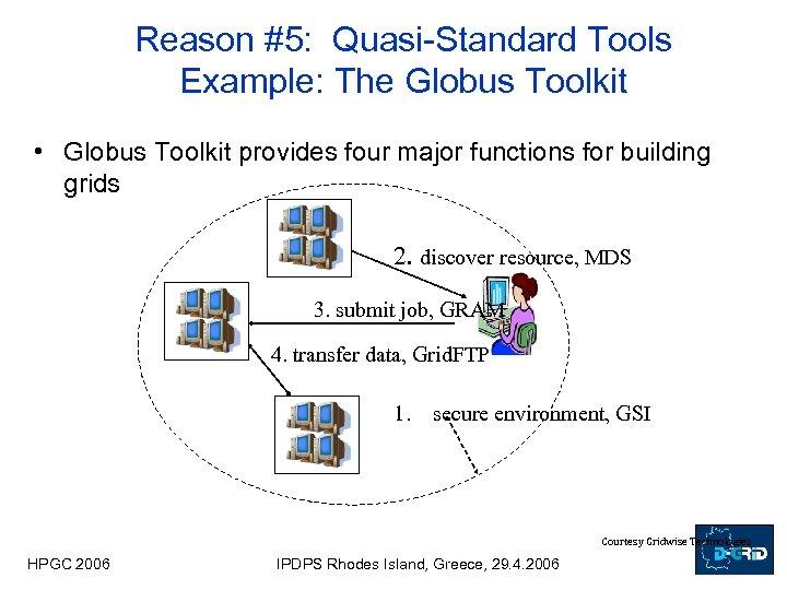 Reason #5: Quasi-Standard Tools Example: The Globus Toolkit • Globus Toolkit provides four major