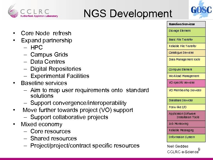 NGS Development Baseline Services • Core Node refresh • Expand partnership – HPC –
