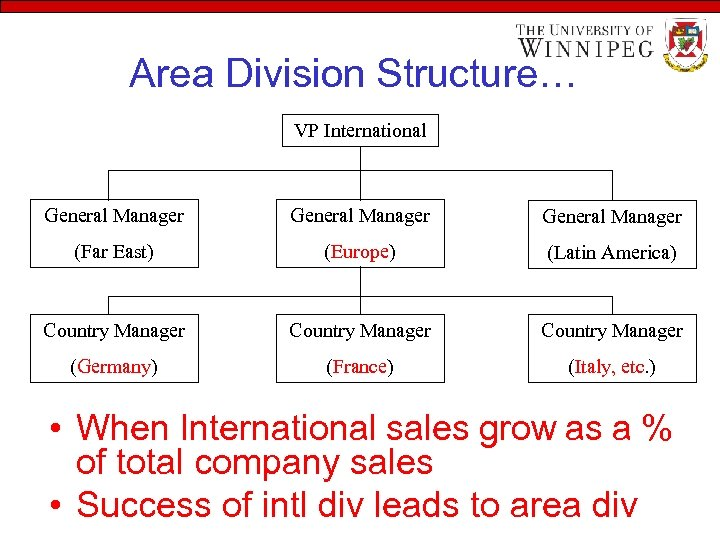 Area Division Structure… VP International General Manager (Far East) (Europe) (Latin America) Country Manager