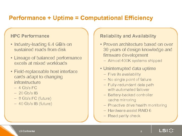 Performance + Uptime = Computational Efficiency HPC Performance Reliability and Availability • Industry-leading 6.