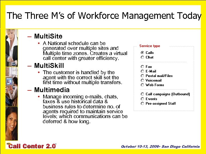 The Three M's of Workforce Management Today – Multi. Site • A National schedule