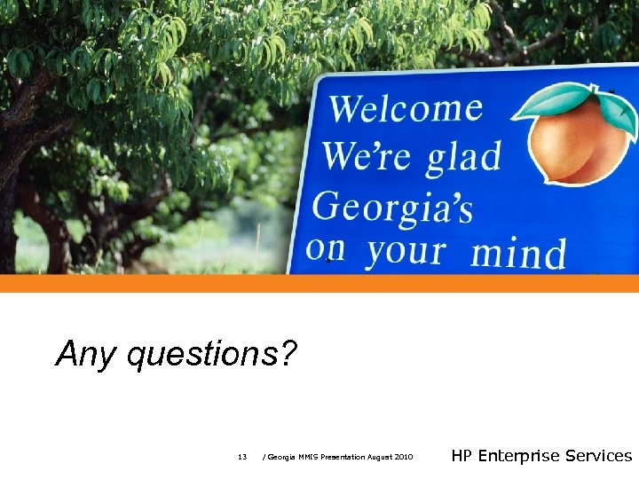 Any questions? 13 / Georgia MMIS Presentation August 2010 HP Enterprise Services
