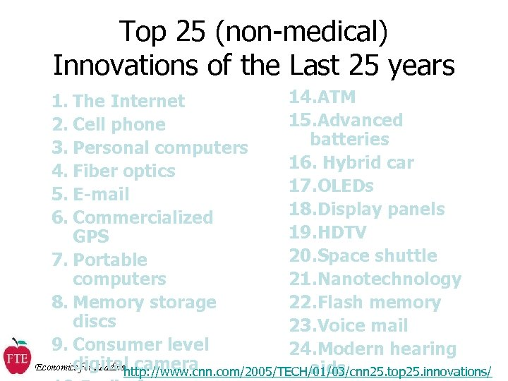 Top 25 (non-medical) Innovations of the Last 25 years 14. ATM 1. The Internet