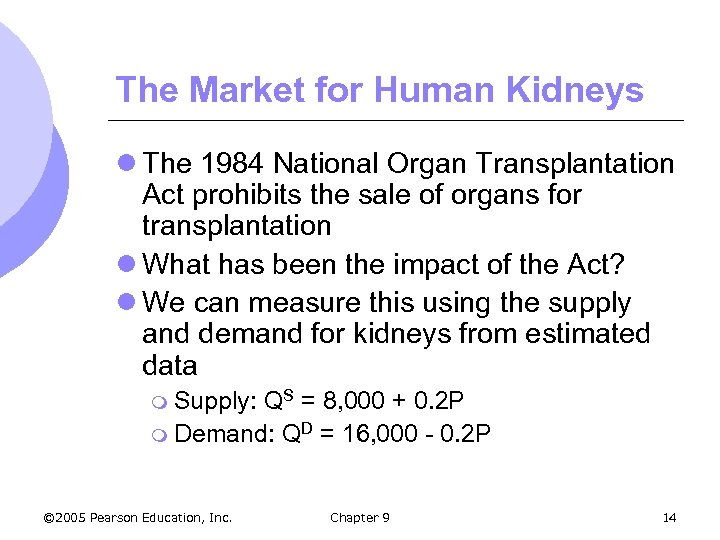 The Market for Human Kidneys l The 1984 National Organ Transplantation Act prohibits the