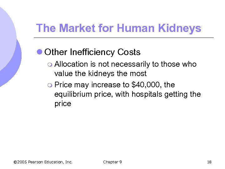 The Market for Human Kidneys l Other Inefficiency Costs m Allocation is not necessarily