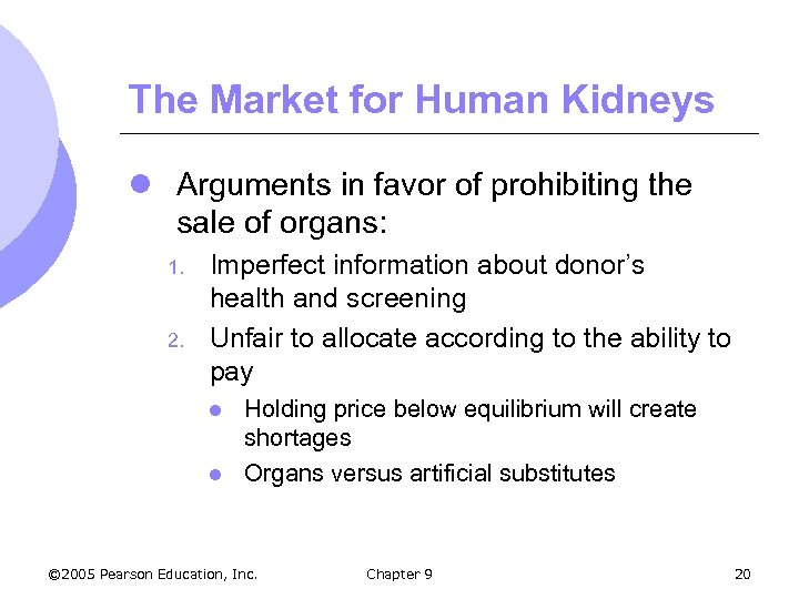 The Market for Human Kidneys l Arguments in favor of prohibiting the sale of
