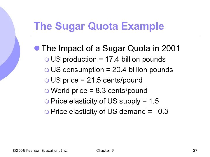 The Sugar Quota Example l The Impact of a Sugar Quota in 2001 m
