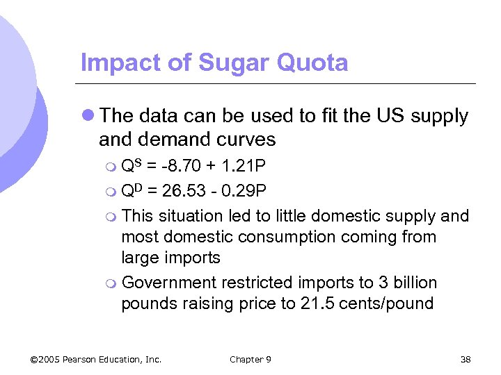 Impact of Sugar Quota l The data can be used to fit the US