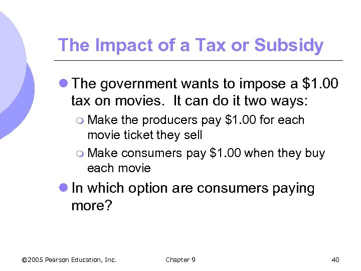 The Impact of a Tax or Subsidy l The government wants to impose a