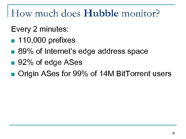 How much does Hubble monitor? Every 2 minutes: n 110, 000 prefixes n 89%