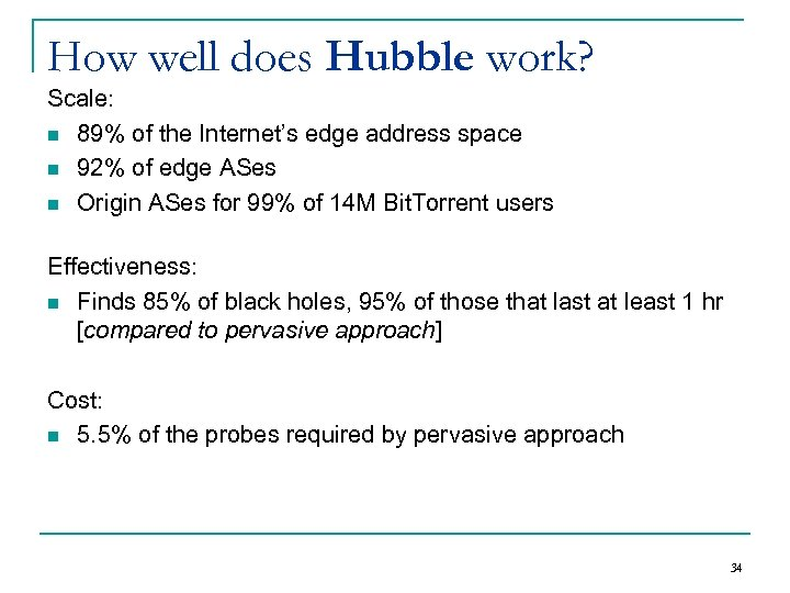 How well does Hubble work? Scale: n 89% of the Internet's edge address space