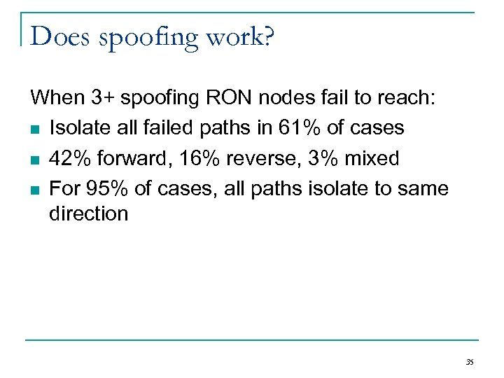 Does spoofing work? When 3+ spoofing RON nodes fail to reach: n Isolate all