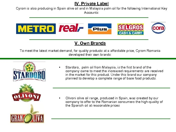 IV. Private Label Cyrom is also producing in Spain olive oil and in Malaysia